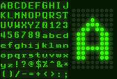 Green dotted LED display letter set Royalty Free Stock Images
