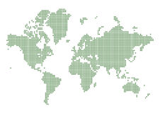 Green dotted world map stock photo