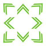 Green double arrows in 8/eight different directions stock illustration