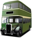 Green double decker bus. English double decker bus isolated on white. File contains gradients and blends gradient and blends Stock Photo