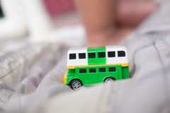 Green double decker bus toys Royalty Free Stock Photos