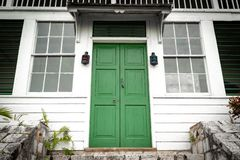 Free Green Double Door Front Entrance At Top Of Stairs/ Staircase At A Vintage House/home Royalty Free Stock Photography - 141908877