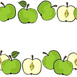 Green double horizontal border on white fruit illustration Royalty Free Stock Photos