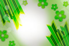 green double line and flowers, abstract background Stock Image