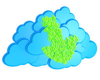 Green download arrow before blue clouds Royalty Free Stock Photos
