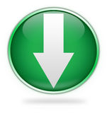 Green download button. Circular green download arrow button isolated on white background Royalty Free Stock Image