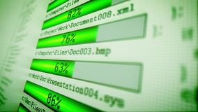 Green downloading bars with numbers Royalty Free Stock Photo