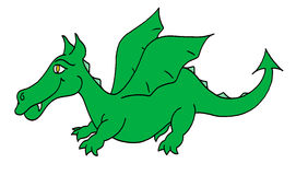 Green dragon. Colour line cartoon drawing of a happy green dragon Stock Photo