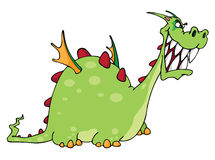 Green Dragon. Green smiling dragon cartoon illustration Stock Photography