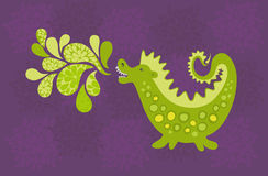 Green dragon. Cartoon of the funny dragon with the poisonous breath Royalty Free Stock Photo