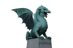 Green dragon. Statue of a green dragon from Ljubljana royalty free stock images