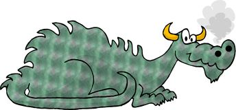 Green Dragon. This illustration that I created depicts a green dragon with smoke coming from its snout Stock Photo