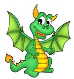 Green dragon. Illustration of little green dragon stock illustration