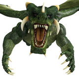 Green dragon attack close up Royalty Free Stock Photo
