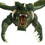 Green dragon attack close up Royalty Free Stock Photo