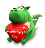 Green dragon and big red heart Stock Photography