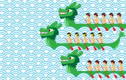 Green dragon boat on blue abstract background vector design. Stock Photography