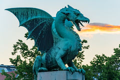 Green dragon breathing fire Royalty Free Stock Photography