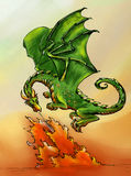 Green dragon breathing fire. Hand drawn ink sketch, colored. Green dragon breathing fire Stock Photo