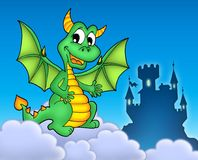 Green dragon with castle. Color illustration Stock Photography