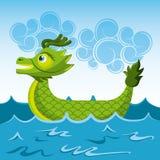 Green dragon chinese boat sea cartoon. Vector illustration Royalty Free Stock Image