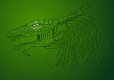 Green dragon drawing Royalty Free Stock Photos
