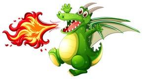 A green dragon fire. Illustration royalty free illustration