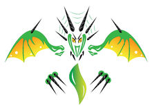 Green dragon and flame Stock Images