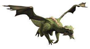 Green Dragon in Flight. Fantasy illustration of a large green dragon in flight, 3d digitally rendered illustration Royalty Free Stock Photos
