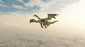 Green Dragon Flying through the Clouds. Fantasy illustration of a green dragon flying through clouds over high mountains, 3d digitally rendered illustration Royalty Free Stock Photos