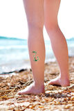 Green dragon glitter-tattoo Royalty Free Stock Photos