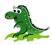 Green dragon going on a grass. Green little dragon going on a grass Royalty Free Stock Photos