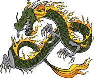 Green Dragon Illustration. Green Fire Dragon Illustration Vector Stock Photography