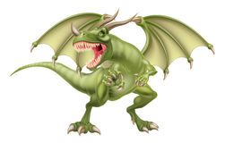 Green Dragon. An illustration of a mean looking fantasy fairy tale green dragon Stock Image