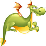 Green dragon. Isolated on white background Royalty Free Stock Photo