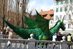 Green dragon of Ljubljana Stock Photos