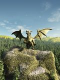 Green Dragon Perched on a Rock. Large green dragon perched on a rocky outcrop above a forest, 3d digitally rendered illustration Stock Image