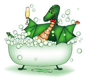 Green dragon relax in bath. With champagne and caviar Royalty Free Stock Photography