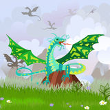 Green dragon on the rock landscape Royalty Free Stock Photography
