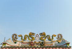 Green dragon on the shrine roof Royalty Free Stock Photography