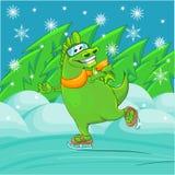 Green dragon skating Royalty Free Stock Photography