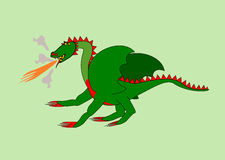 Green Dragon. Spewing oheň- computer drawing vector illustration