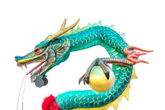 Green dragon statue isolated on white background Stock Photos