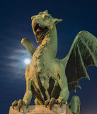 Green dragon with super-moon Royalty Free Stock Images