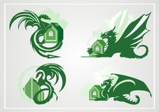 Dragon with the house Royalty Free Stock Images