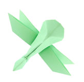 Green dragonfly of origami. Royalty Free Stock Image