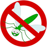 Green dragonfly in prohibition sign Royalty Free Stock Images
