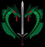 Green dragons and sword. stencil. Illustration Stock Photography