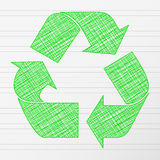 Green drawing recycling symbol Royalty Free Stock Photography