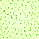 Green Drawn Letter Seamless Pattern Stock Images